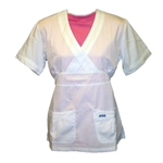 #420T- LIMITED STOCK -Women's white scrub top - tie back