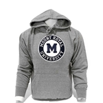 Photo of a grey hoodies with a lettered design on a mannequin