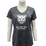 WE ARE THE COUGARS LADIES TECH TWIST V NECK SHIRT