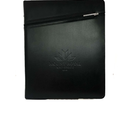 MRU Cross zippered padfolio - black